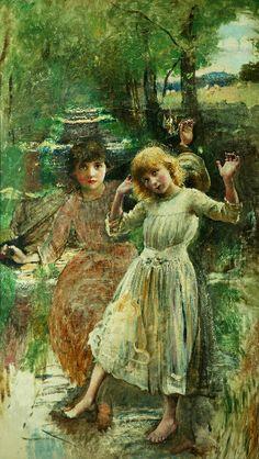 Crossing the stream (1886) Annie Louisa Robinson Swynnerton (1844 - 1933)