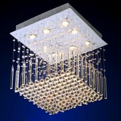 Contemporary Crystal Chandelier with polished chrome base
