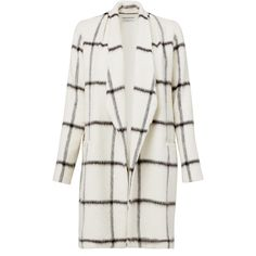 Rental Waverly Grey Evie Coat ($60) ❤ liked on Polyvore featuring outerwear, coats, jackets, tops, dresses, waverly grey, black and white coat and long sleeve coat