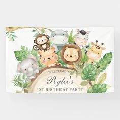 Banner Backdrop, Birthday Backdrop, Party Wall Decorations, Birthday Decorations, Jungle Animals, Baby Animals, Safari Theme, Jungle Safari, Safari Party