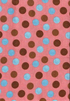 No. 158a, 100% Cotton, Quilting, Brown and Blue Dots on Coral, 44-45 Inches Wide, Sold By The Half Yard by OhSewWorthIt on Etsy