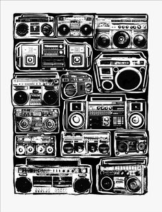 Boomboxes Art Print - Ghetto Blaster - Blackline - Hip Hop Hipster Pop Art - Hand Printed