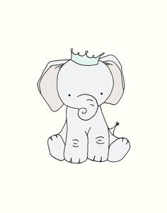 Nursery Art, Little Elephant Prince, 11x14 Nursery Art Print, Nursery Decor, Elephant Art Print, Children Giclee Art Print, Kids Wall Art on Etsy, $20.00