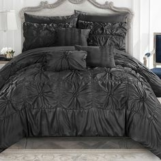 Chic Home Springfield 10 Piece Comforter Bag Floral Pinch Pleat Ruffled Designer Embellished Bedding Set-Sheets Decorative Pillows Shams Included, King, Black Black Comforter Sets, Elegant Comforter Sets, Bedding Sets, King Comforter, Black Bedding, Bedroom Comforters, Bedspreads, Bed In A Bag, Ruffle Bedding