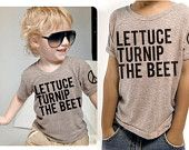 lettuce turnip the beet - dark grey heather tshirt - youth sizes 6, 8, 10, or 12. $24.00, via Etsy.