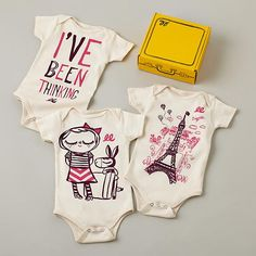 Inspired by vintage picture books, these printed one-pieces are as unique as the baby in them. Set of 3 printed one-pieces comes in a creative suitcase gift box. Made by @Linda Bruinenberg Fulton Lily in Southern California.