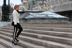 Your Outfit Today Sporty Chic, Aldo Shoes, Ring Earrings, Burberry, Leather Pants, Blazer, Black And White, Lady, Engagement Ring