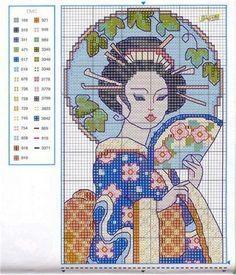 0 point de croix portrait geisha - cross stitch