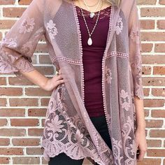 """Some of our favorites pulled together in one outfit! Our cover lace kimono over our lace top paired with our """"Up"""" pants that feel like yoga pants but with support in all the right places.  Our jewelry choices are the layered druzy necklace with the beaded stone drop.  Can't forget our druzy ring in white.  Purchase this look in store or online!"""