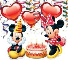 Mickey and Minnie Disney Happy Birthday Images, Disney Birthday Wishes, Happy Birthday Mickey Mouse, Arte Do Mickey Mouse, Happy Birthday Celebration, Birthday Tags, Mickey Mouse And Friends, Mickey Minnie Mouse, Happy Birthday Cards