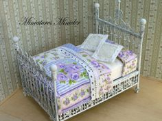 Miniature Dollhouse Rustic Metal Bed With Bed Clothes by Minicler, $44.43