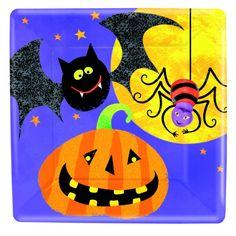 Disse stilfulde frikant paptallerkener passer ideelt til din Uhyggelig Halloweenfest.
