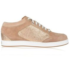 Jimmy Choo Miami Low Top Trainers (6 140 ZAR) ❤ liked on Polyvore featuring shoes, sneakers, nude, leather shoes, low top, lacing sneakers, leather sneakers and leather lace up sneakers