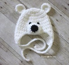 Polar Bear Hat Pattern Repeat Crafter Me: Crochet Polar Bear Hat Pattern includes modification notes to make for adults also!Repeat Crafter Me: Crochet Polar Bear Hat Pattern includes modification notes to make for adults also! Crochet Kids Hats, Crochet Crafts, Crochet Projects, Free Crochet, Knit Crochet, Crochet Animals, Crochet Bear Hat, Crochet Baby Boy Hat, Crochet Christmas Hats