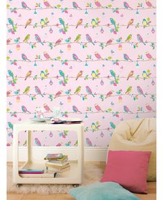 This Stunning Wallpaper Features A Collection Of Multi Coloured Birds Butterflies And Flowers With A