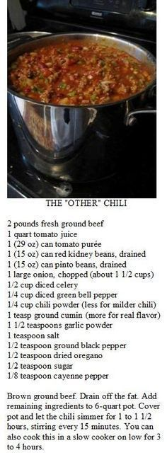 Wendy's Chili: I added 1 large cans tomato juice and 29 oz. Added extra of the ingredients listed and couple packs of chili seasoning mix. Chilli Recipes, Meat Recipes, Slow Cooker Recipes, Mexican Food Recipes, Crockpot Recipes, Cooking Recipes, Recipies, Chilli Con Carne Recipe, Soup And Sandwich