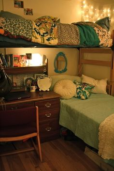 Dorm room ideas. This would give us so much more space!
