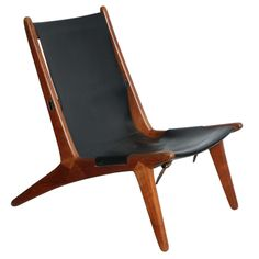 Teak and Leather Sling Back Lounge chair by Kristiansson | From a unique collection of antique and modern lounge chairs at http://www.1stdibs.com/furniture/seating/lounge-chairs/