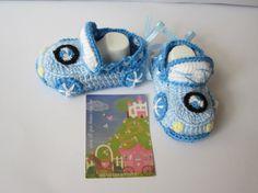 Crochet Baby BootiesWhiteBlue Baby bootiesCars by MILAVIKIDS
