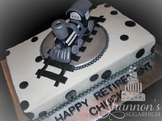 Stream engine retirement cake in black, white, and silver. Chocolate cake iced in vanilla buttercream with fondant accents and a train gum paste / fondant figurine. Retirement Party Invitations, Retirement Cakes, Retirement Parties, Retirement Ideas, Birthday Star, Birthday Cakes, Dad Cake, Homemade Cakes, Gum Paste