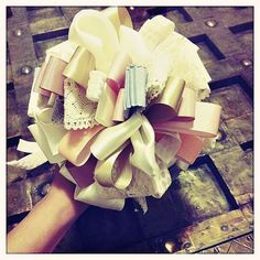 The Bouquet This is a tradition the bride won't want you to forget. She'll need something to hold as she walks down the aisle during the rehearsal, and who doesn't appreciate a little reuse and recycle? Try this DIY wedding ribbon bouquet tutorial here. Bridal Shower Questions, Bridal Shower Games, Bridal Shower Decorations, Bridal Showers, Bridal Shower Crafts, Bridal Shower Bouquet, Unique Bridal Shower, Wedding Bouquets, Rehearsal Bouquet