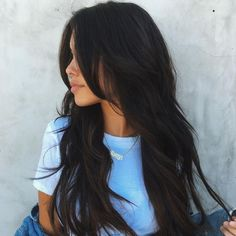 Hair Color Trends 2018 Best for 2018 afmunet hair color ideas for dark hair 2018 - Hair Color Ideas Hair Color For Black Hair, Cool Hair Color, Black Hair Layers, Layers For Long Hair, Layered Long Hair, Wavy Black Hair, Black Hair Cuts, Long Layerd Hair, Layered Haircuts For Long Hair
