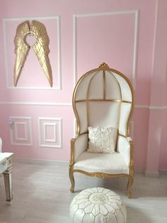 Project Nursery - Custom White and Gold Potter Chair in this Parisian Nursery