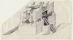 """Walter Pichler, Isometric drawing of an underground building project, 1963   Medium:Ink and graphite on paper, 15 x 27 1/4"""" (38.1 x 69.2 cm)  MOMA"""