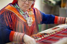 Sami art works in Hetta, Finnish Lapland (kangaspuut)