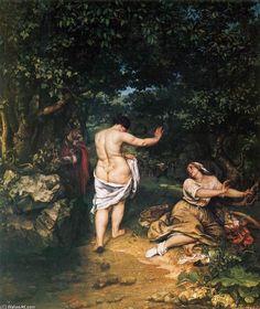 'der badende', öl auf leinwand von Gustave Courbet (1819-1877, France)
