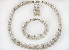 Super shiny Bridesmaid or Bridal pearl necklace by asteriasbridal, $30.00