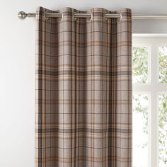 Crafted in a rich and warm colourway, these contemporary check eyelet curtains are ideal to enhance a variety of home decors. The modern eyelet header allows for easy installation and smooth movement across your curtain pole while creating full, elegant folds. Featuring a stylish woven design, these curtains are fully lined to help insulate your home by blocking external heat in summer and retaining internal warmth in winter. Available in a range of widths and drops to suit your… Curtains Dunelm, Neutral Curtains, Types Of Curtains, Bedroom Paint Colors, Contemporary, Modern, New Homes
