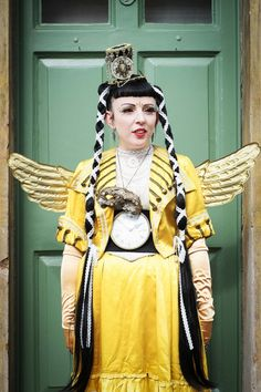 Debbie Ashdown, from Lincoln makes jewellery and hats including her headdress, and wears vintage Victorian clothes