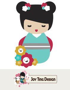 Kokeshi Doll Graphic Art by Joy Ting Designs via lilblueboo.com