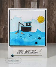 Swimmingly Card by Stephanie Kraft #Cardmaking, #Birthday, #BelatedBirthday, #LittleBitDies, #TE, #ShareJoy