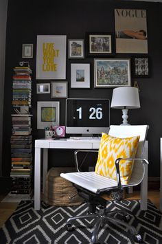 """1 Room, 2 Ways: Style The Trickiest Room In Your House! #refinery29 http://www.refinery29.com/living-archive-118#slide4 Tip #2: """"Fill your office with things that inspire you. Use a lot of color, your favorite books, images, anything that you love. I have the work of creative, talented women all around me and it inspires me to create great things every day."""""""
