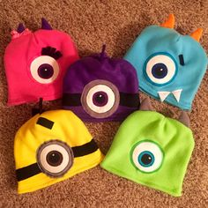 Handmade Custom Monster / Minion Fully Lined with Matching Fleece, Fleece Hat, by MamaChickpea, on etsy.
