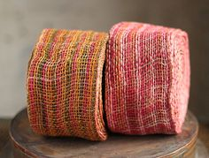 Rose - Fuchsia and Pink Rope Fiber Jute Ribbon - 4 In x 10 Yards