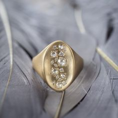rebecca overmann signet diamond waterfall ring