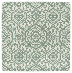 Runway Mint/Ivory Damask Hand-Tufted Wool Rug (9'9 x 9'9 Square) | Overstock.com Shopping - The Best Deals on Round/Oval/Square