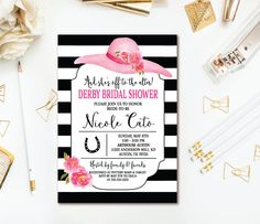 Kentucky Derby Bridal Theme Shower Invitation EACH WITH ENVELOPES