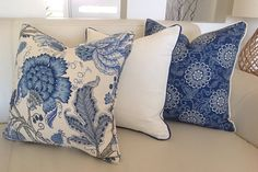 Hamptons Style Linen Cushions, Linen Pillows. Floral Blue & White Cushion Cover Coastal Ivory Cushion Covers Scatter Cushion