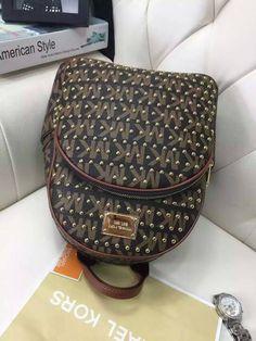 MICHAEL Michael Kors Jet Set Micro-Studs Travel Logo Leather Small Backpack Coffee
