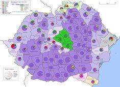 Romania 1930 ethnic map EN - Kingdom of Romania - Wikipedia Romania Map, Romania Travel, History Of Romania, Romanian Language, The Old Curiosity Shop, European Languages, Old Maps, Prehistory, Historical Maps
