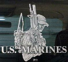 GLASS ETCHED MARINE WITH GUN ON TRUCK GLASS  http://www.shortysartandsign.com/Glass_Etching.html