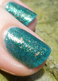 the now retired Cult Nails: Toxic Seaweed by Adventures In Acetone. I know all indies make now glitter, but noone makes them like Maria! #cultnails #jointhecult