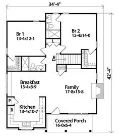 Cabin Country Craftsman House Plan 45157 Level One. No basement