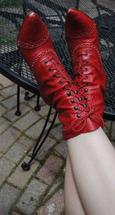 Red Witch Shoes by DeadGirlsVintage on Etsy, $30.00