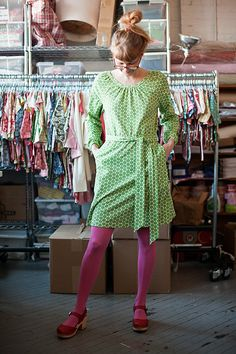 Mini Flowers print--Heart the Winter Water Factory addition of women's clothing. I have a summery t-shirt dress. But with tights... the pink plus the red shoes. I want to be her.