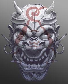 ArtStation - Evil painted samurai mask, Máté Lukács